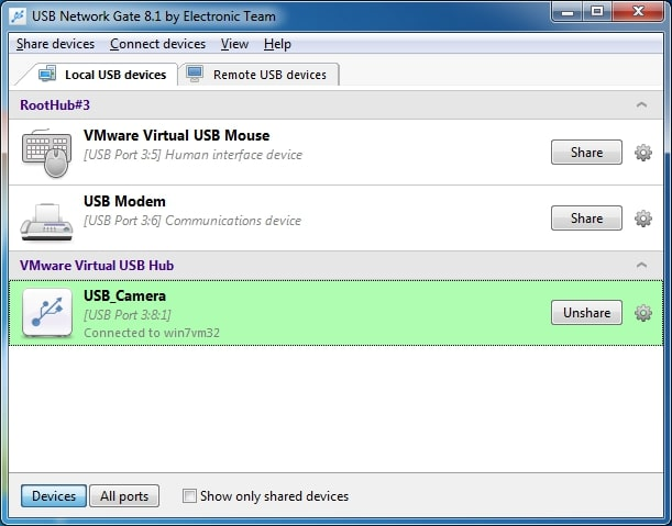 How to unshare USB device